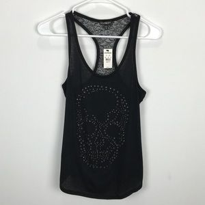 Express Black Racerback Tank with Skull & Lace NWT